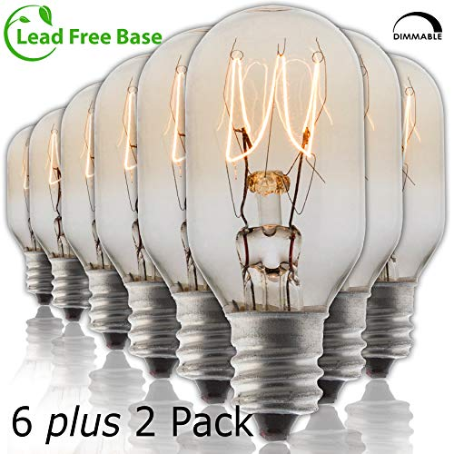 Salt Rock Lamp Bulb 6 Pack + 2 Free 15 Watt Replacement Bulbs for Himalayan Salt Lamps & Baskets, Scentsy Plug-in & Wax Warmers, Night Lights. Incandescent T20 E12 Socket with Candelabra Base, Clear ()