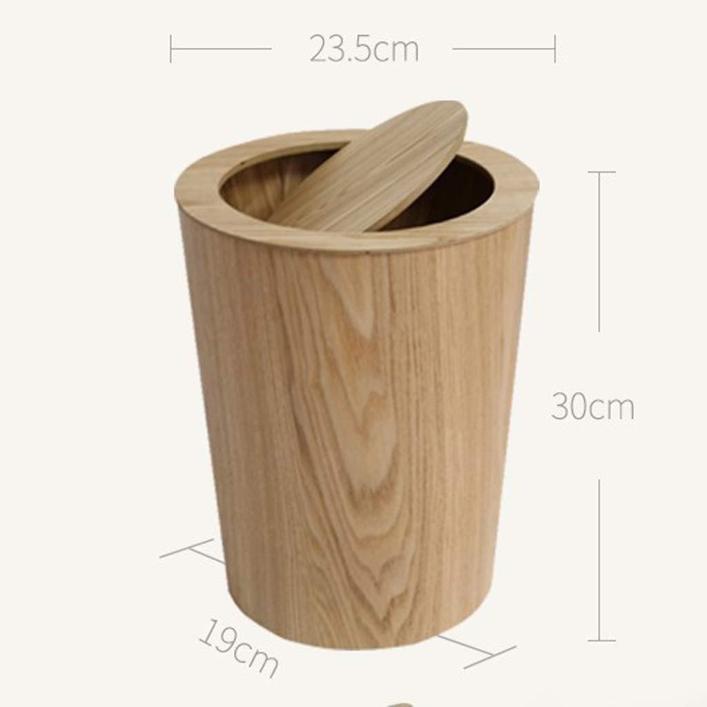 Papelera de ba/ño con Tapa Papelera de Madera n/órdica Japonesa Cubo de Almacenamiento Creativo for el hogar Simple Sala de Estar Papelera Grande Cesta de Papel de Oficina Color : Brown