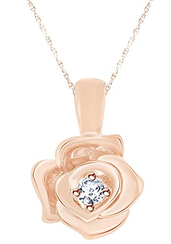 9e2886b839884 Amazon.com: 0.3 Ct White Diamond Belle Rose Pendant Necklace In 10K ...