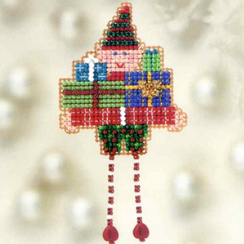 Oli Elf Beaded Counted Cross Stitch Christmas Ornament Kit M