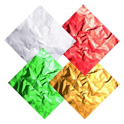 Hicarer 400 Pieces Aluminium Foil Christmas Candy Wrappers 4 by 4 Inch Chocolate Wrappers for Christmas DIY Candies and Chocolate Packaging, 4 Colors