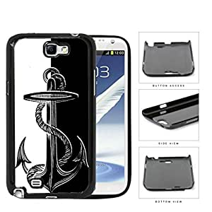 Boat Anchor Black And White Hard Plastic Snap On Cell Phone Case Samsung Galaxy Note 2 II N7100