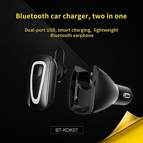 KOBWA Bluetooth Headset, USB Car Charger Mini Wireless Earbuds Bluetooth Earpiece Hands-free Bluetooth Earphones with Mic Bluetooth Headset for IPhone and Android