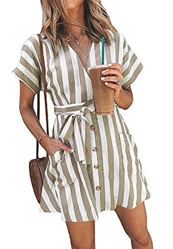 OEUVRE Women V Neck Short Sleeve Wrap Tie Waist Button Down Shirt Dress Striped Belted Dress with Pocket Beige ()