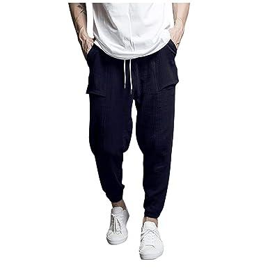 VPASS Pantalones Hombre Casuales Moda Deportivos Lino Pants Color ...