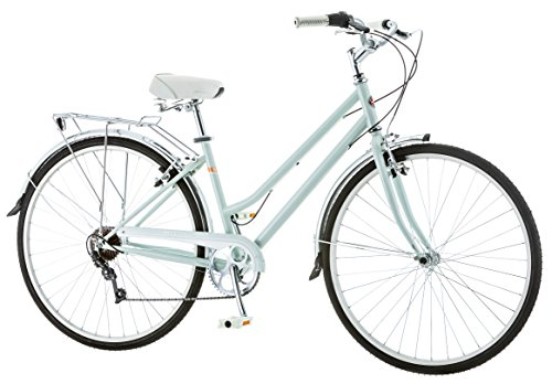 Schwinn Wayfarer Hybrid Bicycle, Featuring Retro-Styled 16-Inch/Small Steel Step-Through Frame and 7-Speed Drivetrain with Front and Rear Fenders, Rear Rack, and 700C Wheels, Light Mint