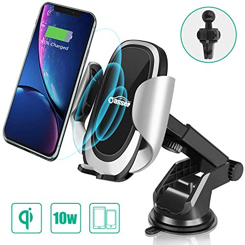 Oasser Wireless Car Charger Fast Charger Dashboard Windshield Air Vent Phone Holder with Adjustable Coil, 10W for Samsung Galaxy S9/S9+/S8/S8+/Note 8, 7.5W for iPhone Xs Max/Xs/XR/X/8/8 Plus ()