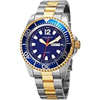 Akribos XXIV Men's Diver Watch – Gold and Silver Stainless Steel Band with Blue Dial and Bezel – Designer Sports Watch - AK947TTG