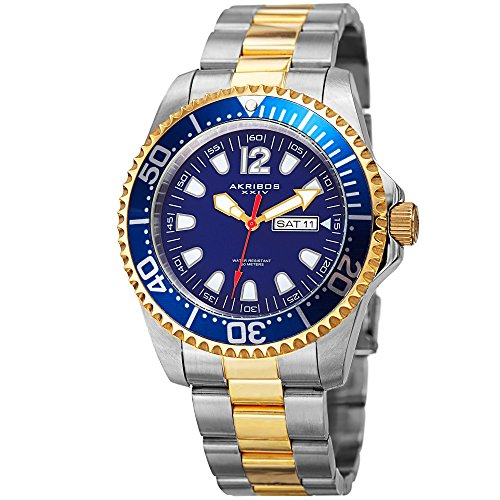 Akribos XXIV Men's Diver Watch - Gold and Silver Stainless Steel Band with Blue Dial and Bezel - Designer Sports Watch - AK947TTG