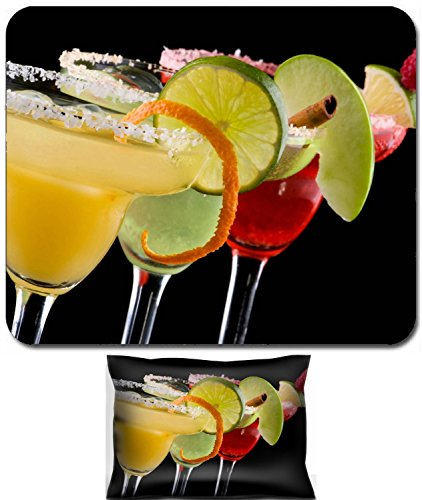Luxlady Mouse Wrist Rest and Small Mousepad Set, 2pc Wrist Support design Three Margaritas apple orange and raspberry in chilled glasses over black background garnished with slice of green apple limes