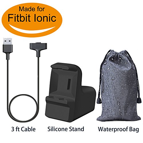 for Fitbit Ionic Charging Cable with Stand, BRG Replacement Fitbit Ionic Accessories USB Charger Charging Cable Adapter for Fitbit Ionic Quality Power Charging Cord 3 Feet - Black