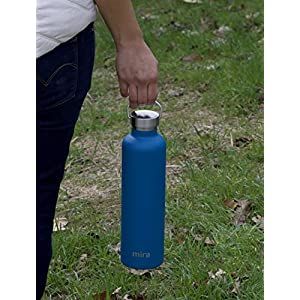 MIRA 25 Oz Stainless Steel Vacuum Insulated Water Bottle | Thermos Keeps Drink Cold for 24 hours & Hot for 12 hours, Doesn't Sweat | Large Powder Coated Sports Flask 2 Lids | Hawaiian Blue