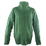 100% Irish Merino Wool Aran Knit Zip Sweater with pockets by West End Knitwear, Green, Medium