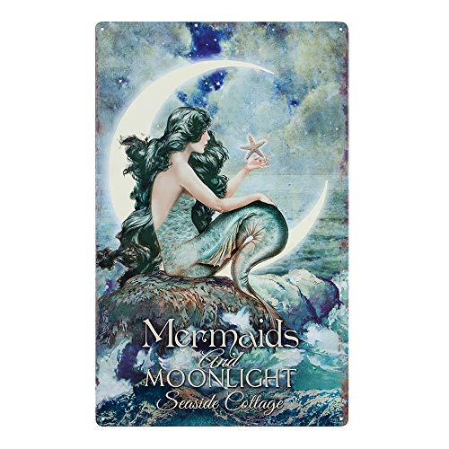 Mermaids & Moonlight Tin Advertising Sign | Mermaid Home Decor Bathroom Wall Art | Beautiful Vibrant Colors | 16 x 10 Inch ()