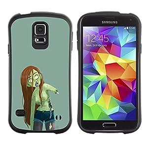 "Pulsar iFace Series Tpu silicona Carcasa Funda Case para Samsung Galaxy S5 , Cabello zombi verde de la muchacha mujer Largo Castaña"""