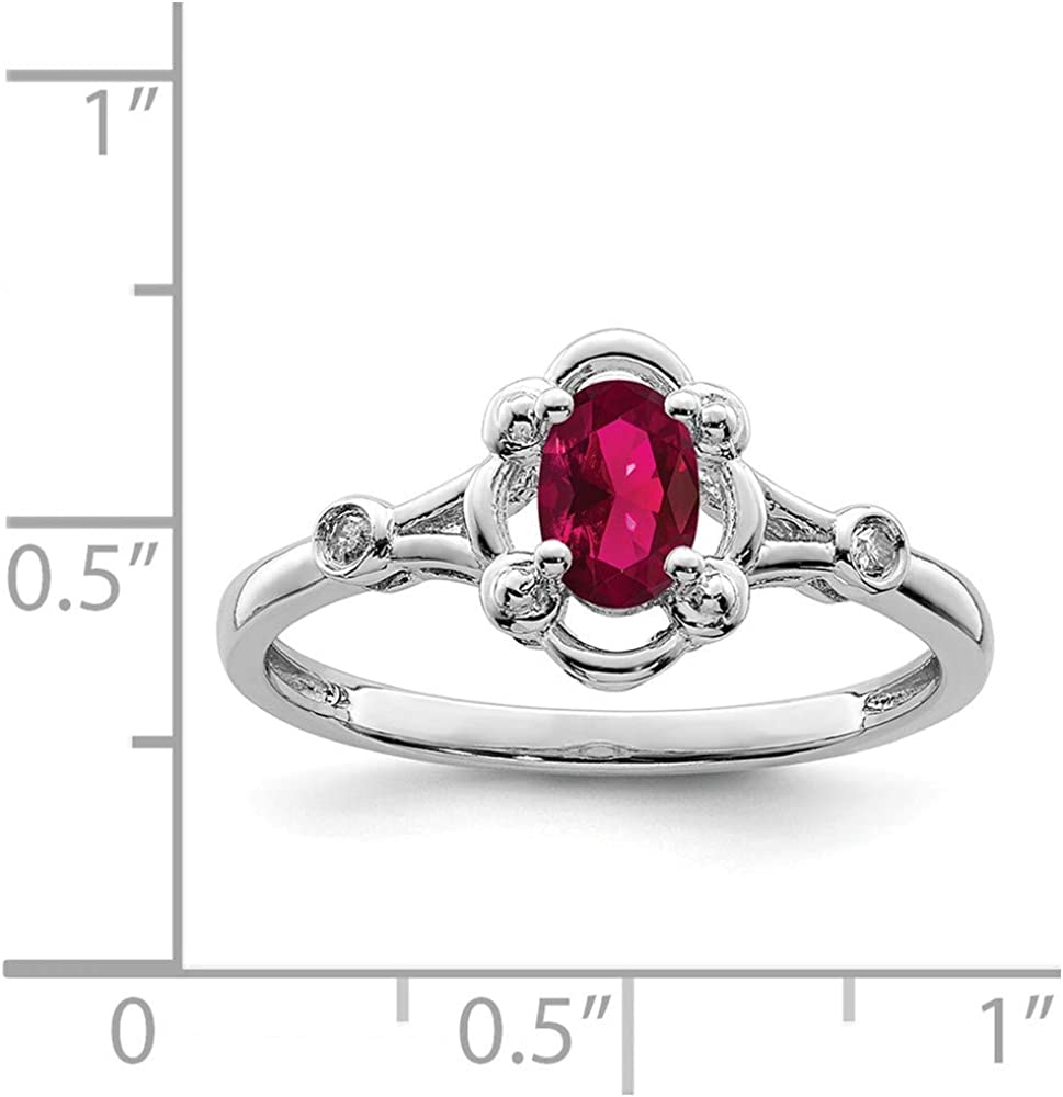 Simulated Ruby and Diamond Ring .02cttw Mia Diamonds 925 Sterling Silver Solid