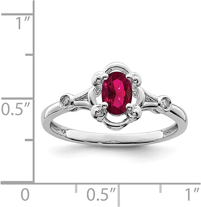 0.01cttw Mia Diamonds 925 Sterling Silver Solid Rhodium-Plated Garnet and Diamond Ring