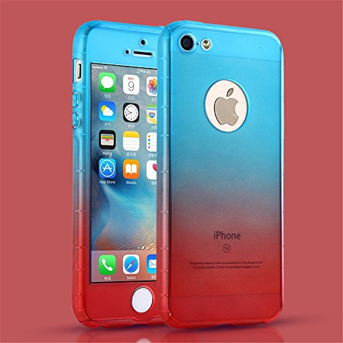 Price comparison product image iPhone 5S Case,  iPhone 5 Case,  MCUK Full Body Coverage Luxury Ultra-thin Gradient with [Slim Tempered Glass Screen Protector] Shockproof Armor Case Cover for Apple iPhone 5S / 5 (Blue-Red)