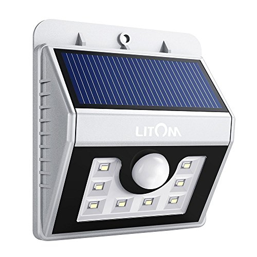 LITOM Solar Lights Outdoor, Motion Sensor Light Wireless Solar Powered Exterior Lighting for Front Door, Yard, Garage, Deck-Sliver For Sale