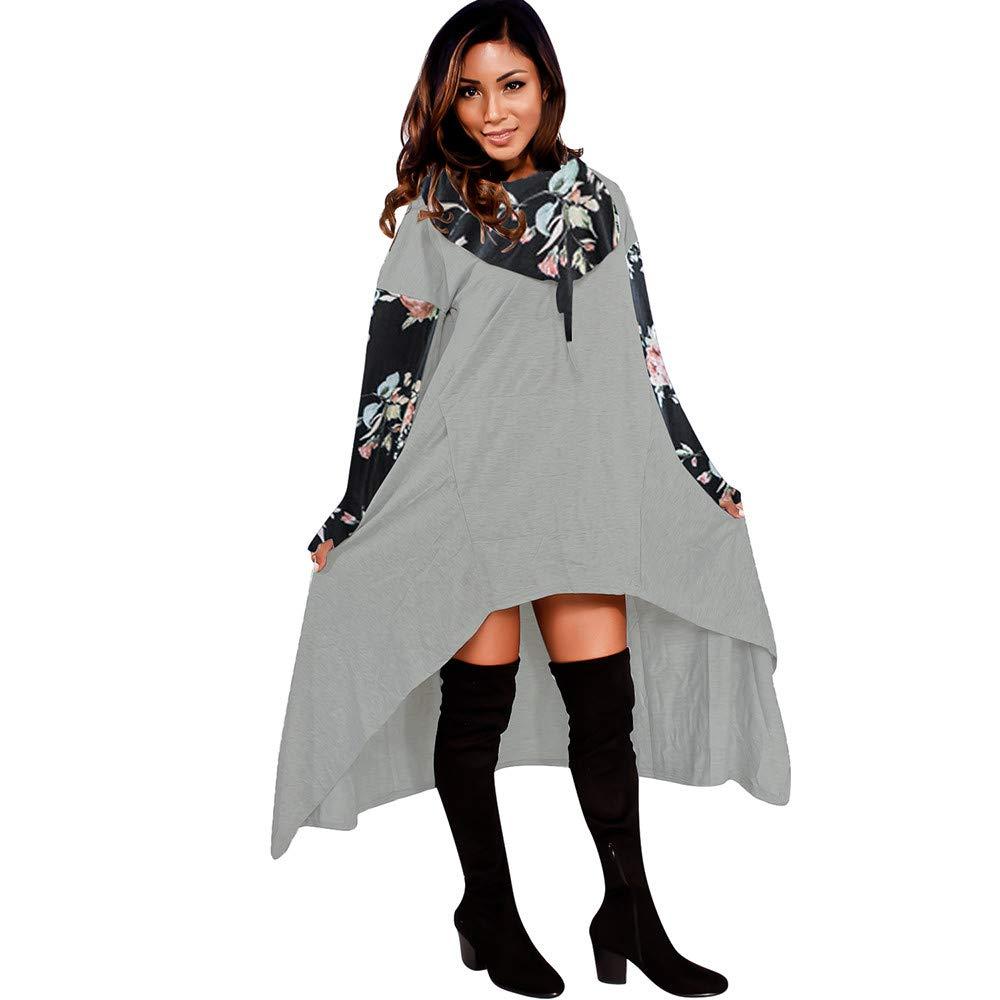 Women Fashion Hoodie Sweatshirts Long Pullover Casual Floral Jumper Asymmetric Irregular Hem Blouse