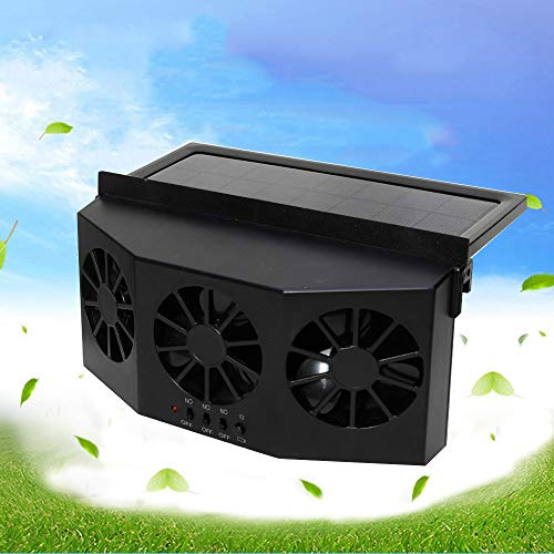 Solar Powered Car Window Ventilation Fan, Auto Air Vent Cooling Fan Windshield Fan with Rubber Strip for Car Vehicle - Black -