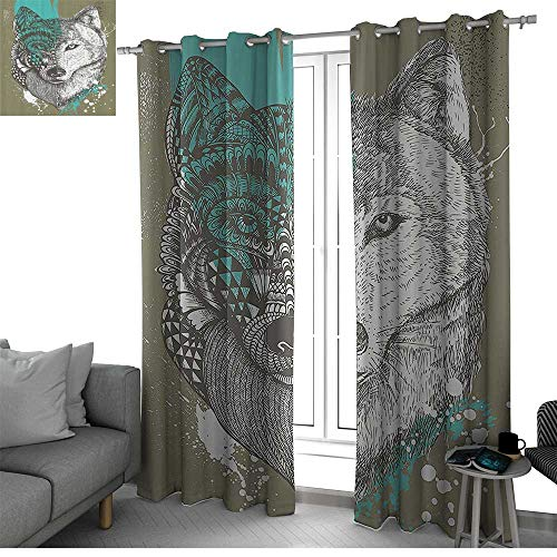 (bybyhome Wolf Microfiber Window Panel Pair Hand Drawn Illustration Zentangle Stylized Wolf with Paint Splatters Print Kitchen Curtain Jade Green Sage Green W120 x L84 Inch)