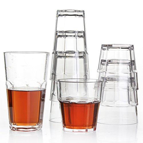 8Pack Unbreakable Rocks Glasses, Old Fashioned Drinking Glasses, 100% Clear Tritan Shatterproof Tumblers, Stackable Reusable Glassware Set for Juice Beer Water, BPA Free, Dishwasher Safe by YINGANG (Image #3)