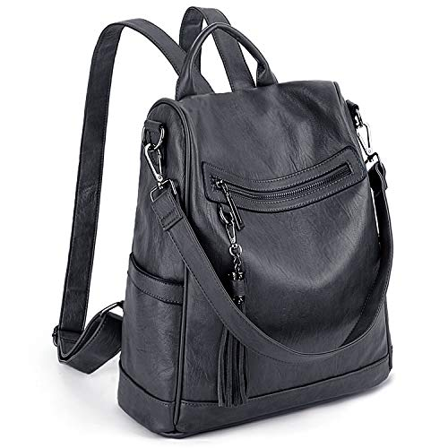 UTO Women Anti-Theft Backpack Purse PU Washed Leather Ladies Tassels Convertible Rucksack Shoulder Bag Grey