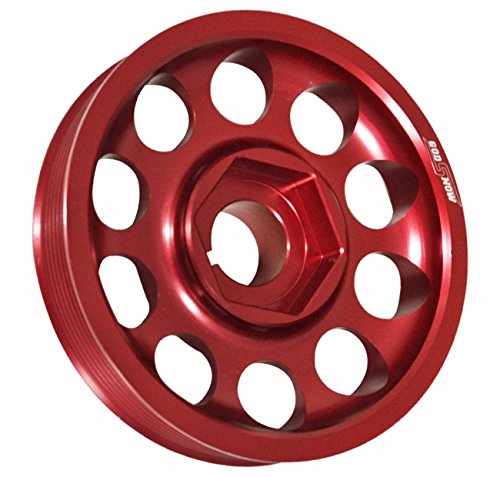 (Light Weight Aluminum Crank Shaft Engine Pulley Red For K-Series K20 K24 DOHC Vtec Engines)