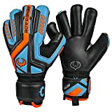 Renegade GK Talon Cyclone 2 Size 6 Roll Cut - Level 2 Football Goalkeeper Gloves for Kids with Endo-Tex Pro Fingersaves (Blue, Orange, Black) - Unisex, Boys, Girls