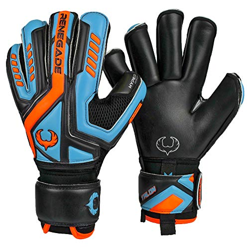 Renegade GK Talon Cyclone 2 Roll Cut Level 2 Youth & Adult Soccer Goalie Gloves with Finger Savers (Pro-Tek) - Soccer Goalie Gloves Size 9 - Goalkeeper Gloves Fingersave - Black, Blue, Orange