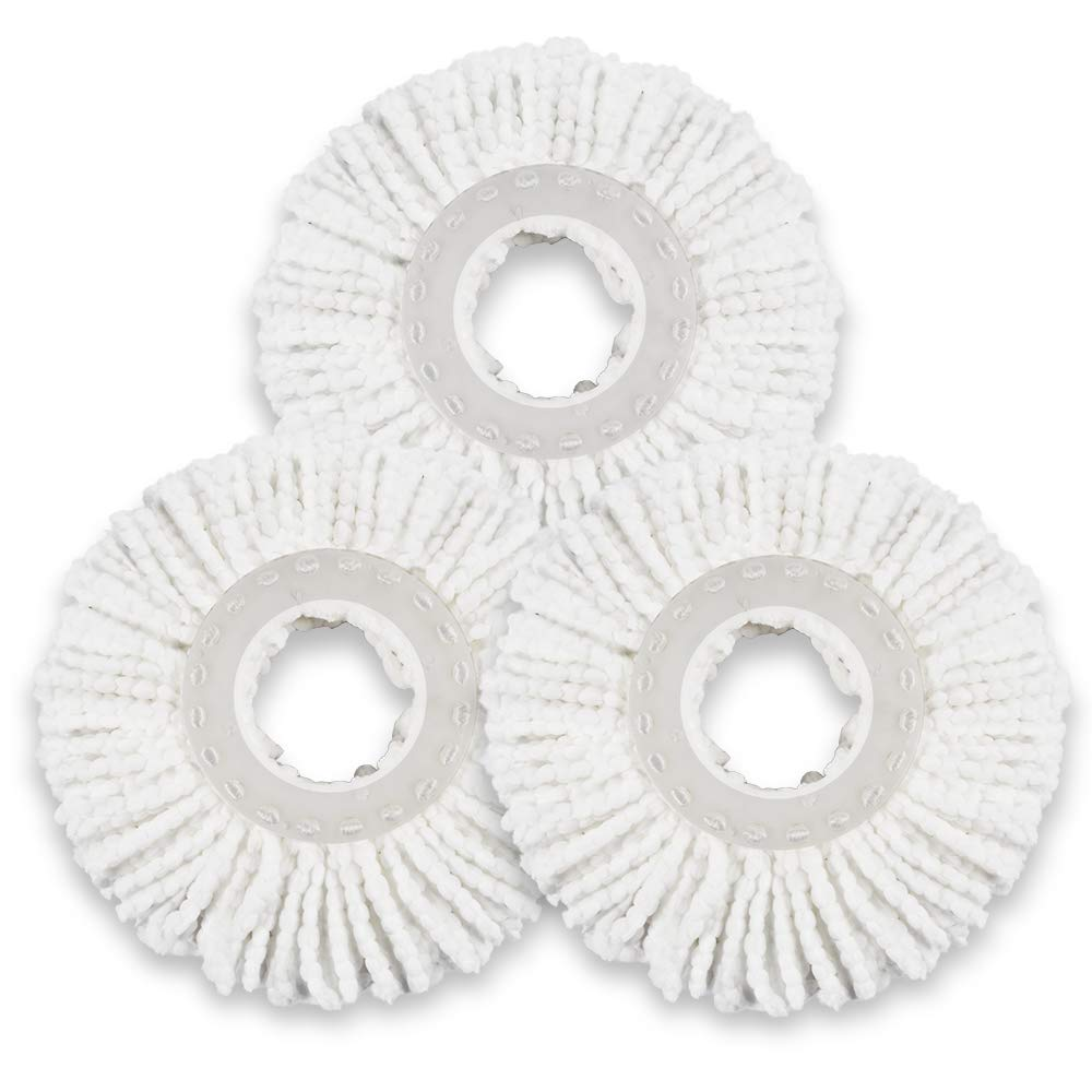 3 Pieces Microfiber Mop Heads Refills For 360° Spin Magic Mop Round Shape Standard Size Mop pads Only for Mastertop Brand