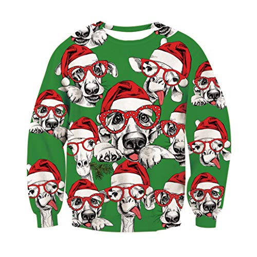 - Leapparel 70s Men Big and Tall Adult Ugly Christmas Sweatshirt 3D Geometric Pattern Alpaca with Hat Print Casual Long Sleeve Pullover Plus Size Hister Active Sporty Shirt XXL