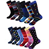 Marino Men's Fun Dress Socks - Colorful Funky Socks for Men - Cotton Fashion Patterned Socks - 12 Pack - Cool Collection - 10-13