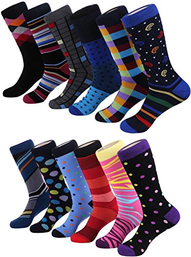 Marino Men's Fun Dress Socks - Colorful Funky Socks for Men - Cotton Fashion Patterned Socks - 12 Pack - Cool Collection - 10 - 13