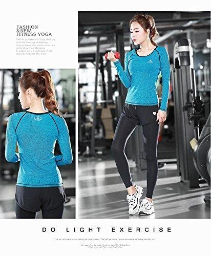 Sportivo 2 Top Da Esecuzione Donne Tuta In Donna Yoga Palestra Fitness Set Piece Shirt Gambali Nbe Blue P1HwFq5x