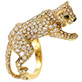 Luxury Bazaar Cartier Panthere Womens 18K Yellow Gold Full Diamond Pave Ring