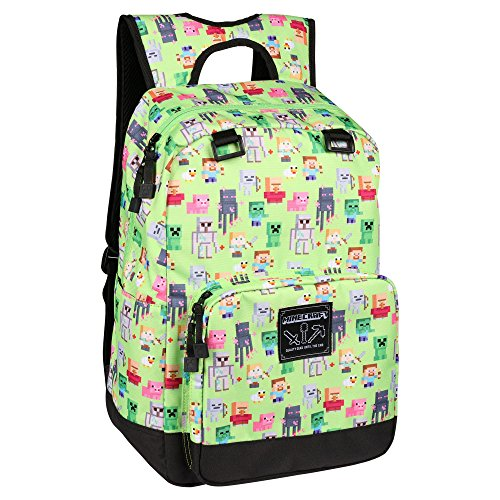 JINX Minecraft Overworld Sprites Kids Backpack (Green, 17) for School, Camping, Travel, Outdoors & Fun