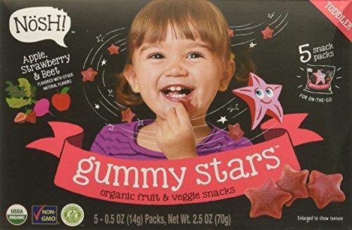 Nosh Gummy Stars Organic Fruit & Veggie Chews Toddler Snack, 5 Snack Packs, Apple, Strawberry & Beet