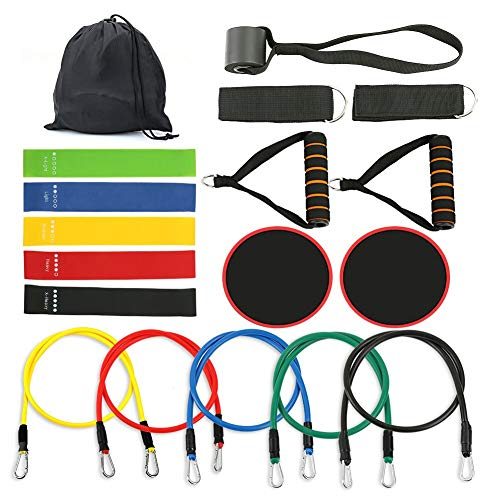 Resistance Bands Set 18 Pieces with Exercise Tube Bands,CleanDell Resistance Loop Band,Core Sliders,Door Anchor,Ankle Straps For Resistance Training,Home Workouts,Physical Therapy,Strengthening Muscel