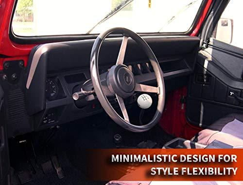 Amazon.com: Speed Dawg M502JP-EBK-5RDR Shift Knob (Jeep Logo 5 Speed Reverse Lower Right Shift Knob with Engraved Pattern, White/Black): Automotive
