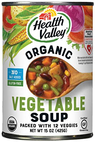 Health Valley Organic No Salt Added Soup, Vegetable, 15 Ounce (Pack of 12)