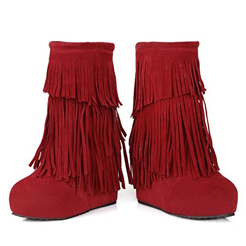 AllhqFashion Mujer Puntera Redonda Mini Tacón Sólido Gamuza(Imitado) Botas Rojo