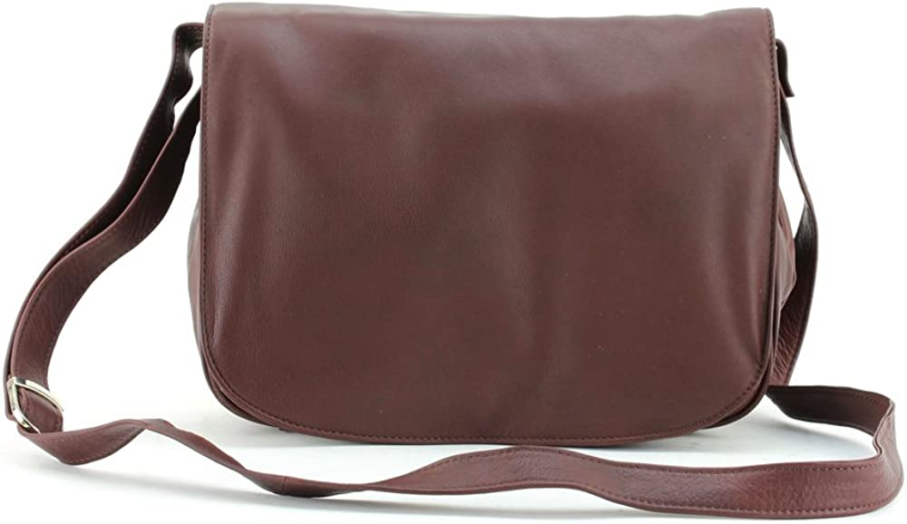 Bacci Large Flap Over Triple Compartment Shoulder Bag With Included Cosmetic Bag