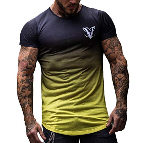 Zackate Men's Round Collar Gradient Color Short Sleeve T-Shirt Elastic Hem Casual Fitness Shirt Yellow (Volleyball Yellow T-shirt)
