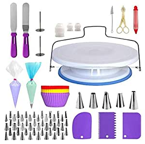 107pcs Cake Decorating Supplies Kit, Disposable and Reusable Piping Bags, Stainless Steel Piping Tips, Silicone Cupcake Molds, Cake Scrapers, Spatulas and many more Baking Supplies