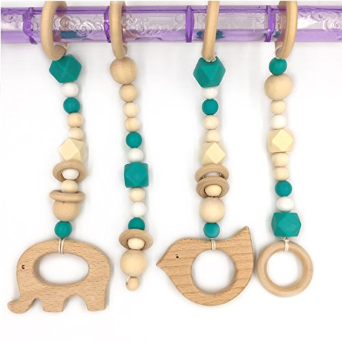 Maple Baby Crib (Amyster Baby Teether Toy Wooden 4 Pcs Set Baby Gym Toy Car Toddler Teething BPA Maple Release Beads Charms)