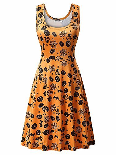 Cute Dress for Women,HUHOT Sleeveless A Line Halloween Themed Scary Bat Spider Pumpkin Party Midi Tank Dress X-Large