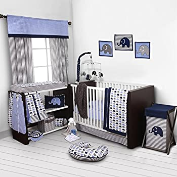 Image of Baby Bacati - Elephants Blue/Grey 10-Piece Nursery in a Bag Boys Crib Baby Bedding Set with 2 Crib Sheets 100% Cotton Fabrics