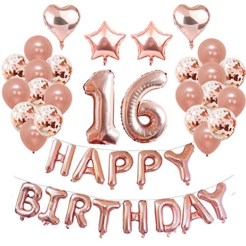 16th Birthday Party Decorations, Puchod 16th Foil Balloons Birthday Party Decorations Banner Supplies Set Gold Confetti Balloons for Girls